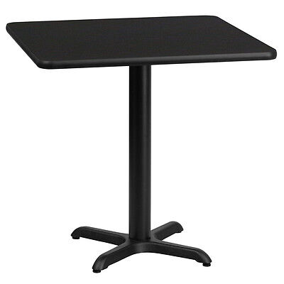 24 Square Black Laminate Table Top With 22 X 22 Table Height Base