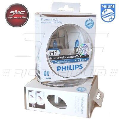 AUTOLAMPEN SET PHILIPS H1 WHITE VISION 4300K +60% LICHT 12V 55W (2H1 + 2W5W).