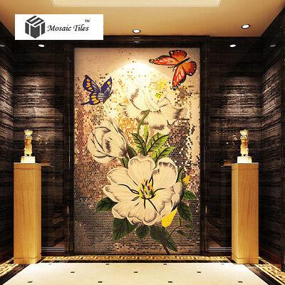 Mosaic Mural Flowers Butterflies Elegant Home Hotel Wall Deco Art Mosaic Tiles