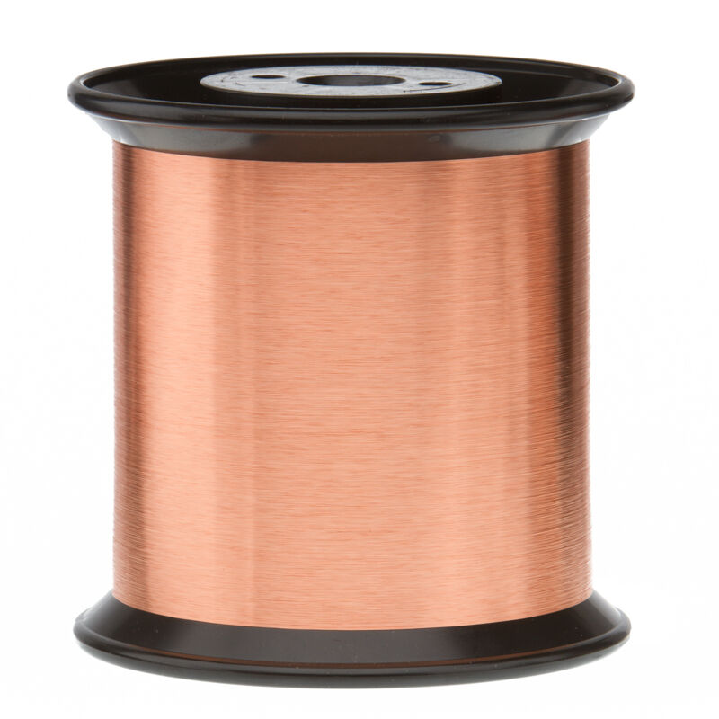"""43 AWG Gauge Enameled Copper Magnet Wire 5.0 lbs 0.0024"""" 155C Natural MW-79-C"""