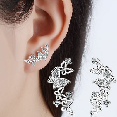 Women-925-Sterling-Silver-Zircon-Butterfly-Ear-Stud-Earrings
