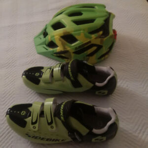 Biking Shoes with Cleats and Lazer Ultralight Helmet