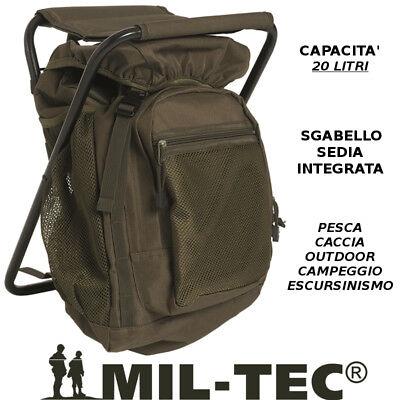 Mochila Miltec con Silla Taburete Integrado para Caza Pesca Outdoor 20Lt Verde