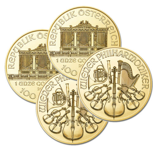 Lot of 4 Gold 1 oz Austria Philharmonic Gold Random Year 1 oz .9999 BANK WIRE