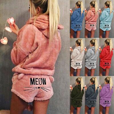 Women Pyjamas Sets Autumn Winter MEOW Warm PJs Homewear Sleepwear Shorts + Tops
