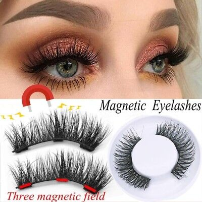 4pcs Magnetic Eyelashes W/ 3 Magnets Long 3D Natural False Eye Lashes Extension