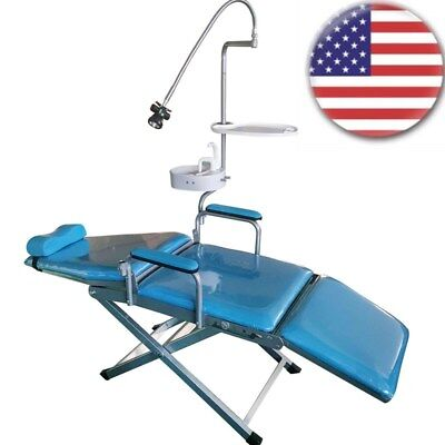 Ups Dental Portable Mobile Chair Folding Unit Chair With Led Light Headrest Us