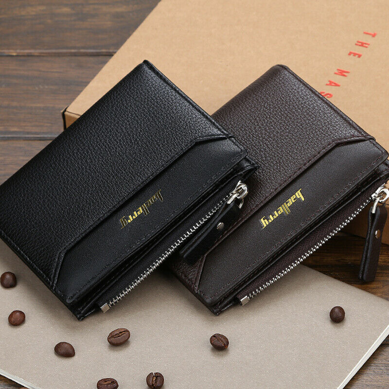 Men Leather Wallet ID Credit Card Holder Clutch Bifold Pocket Zipper Coin Purse Clothing, Shoes & Accessories