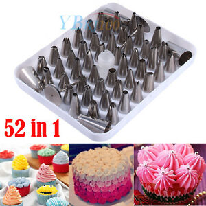 52pcs Cream Icing Piping Nozzles Tool Set Kit Cake Decorating Metal Steel Head