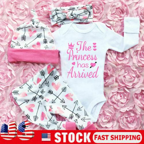 Newborn Toddler Baby Girl Romper Tops Pants Hats Jumpsuit Cl