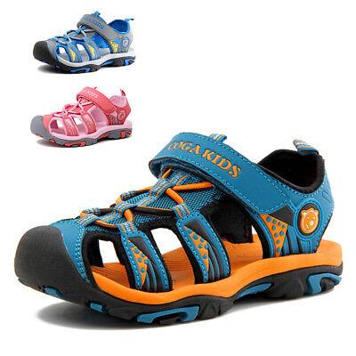 Summer Kids Boys Girls Waterproof Hiking Sport Closed Toe Athletic Sandals New ()