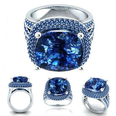Fashion Bling Topaz Zircon Sapphire Ring Engagement Jewelry Decor Size 6-10