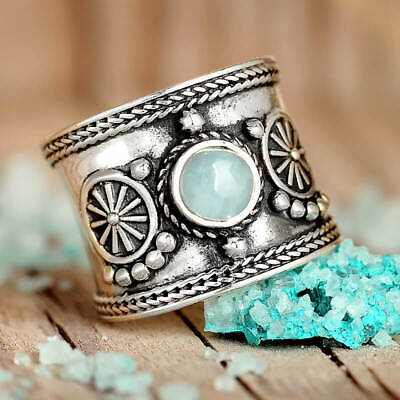 Boho Aquamarine Ring Sterling Silver Women Blue Stone Gem Wide Western Jewelry