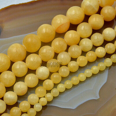 Natural Yellow Jade Round Loose Beads 15.5
