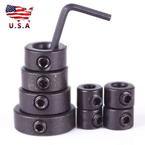 8pcs 3-16mm Woodworking Drill Depth Stop Collars Ring Dowel Shaft Chuck + Wrench