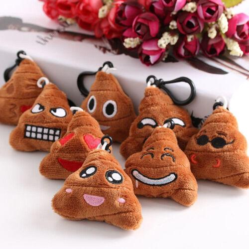 4Pcs Plush Emoji Emoticon Poo Pattern Keyring Bag Charm Pend
