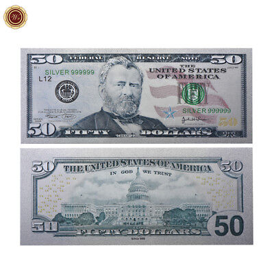 Wr New Colored Silver Foil Us Banknote  50 American Dollar Money Bill Collection