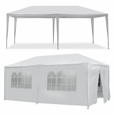 10'x20' Outdoor Canopy Party Wedding Tent White Gazebo Pavilion w/6 Side Walls