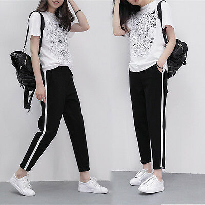 Women Casual Harem Pants Side Striped Ankle Length High Waist Black Trousers