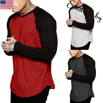 Men Baseball Long Sleeve T-Shirt Crew Fashion CAMO Sports Team Jersey Raglan Tee
