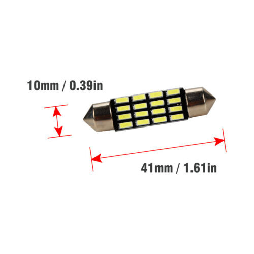 Package:1pcs 41mm:31/36/39/41mm 4014 16SMD LED Festoon Dome Reading Light License Plate Lamp White