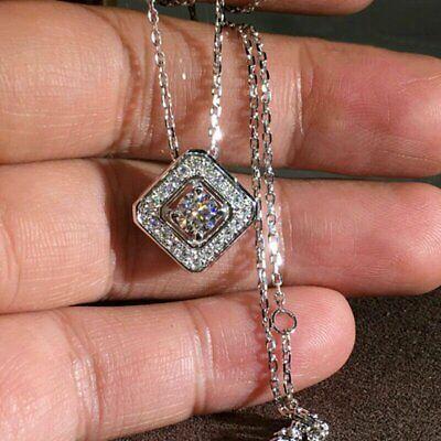 19″ Silver Pendant Necklace Women White Sapphire Wedding Jewerly Fashion Jewelry