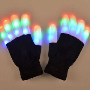 LED Rave Flashing Gloves Glow 7 Mode Light Up Finger Lighting Black New HL