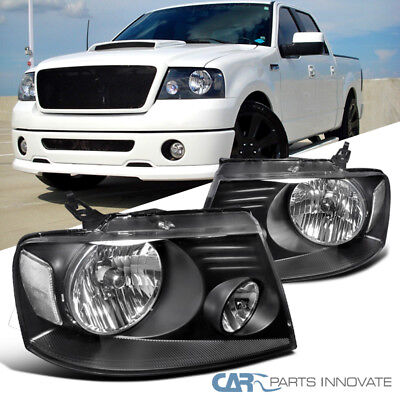 Ford 04-08 F150 Lincoln 06-08 Mark LT Euro Clear Lens Headlights Lamps Black