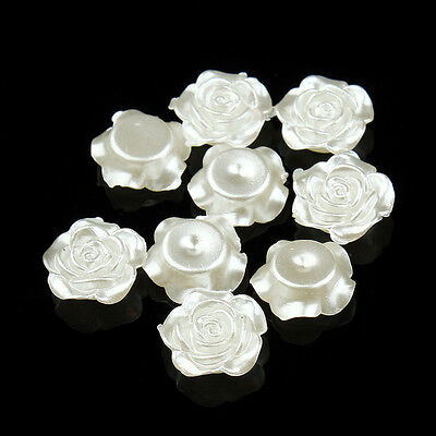 100pcs/lot 12mm Pearl White Flower Flat Back Scrap Booking ABS Beads Jewelry DIY - White Pearls