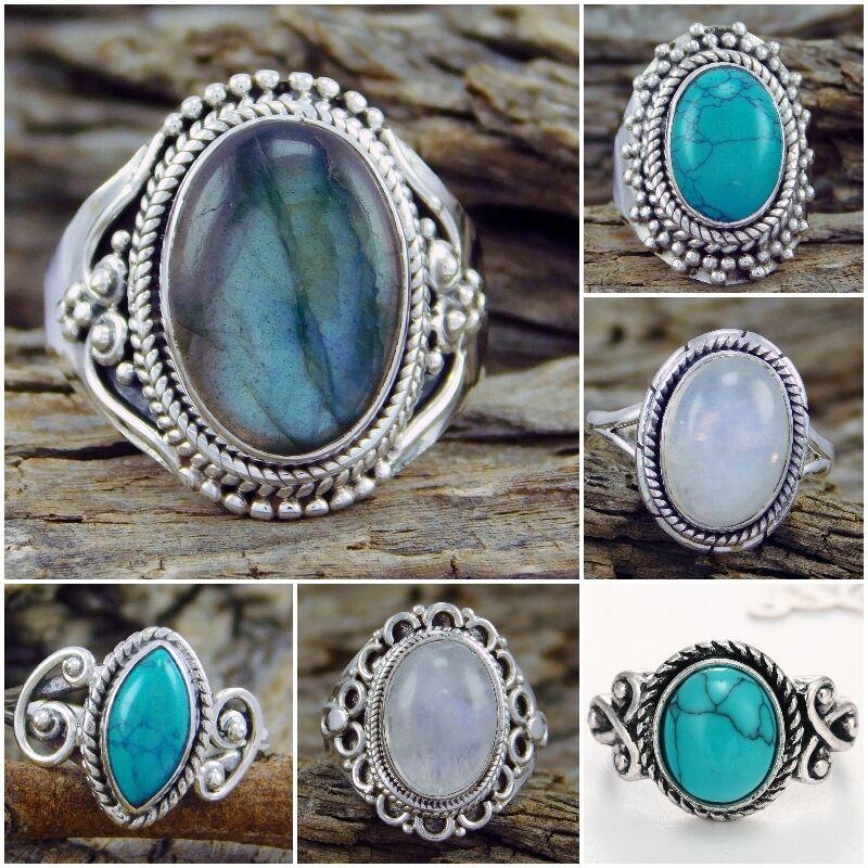 Ring - Fashion Women 925 Silver Turquoise Moonstone Ring Wedding Bridal Jewelry Sz 6-10