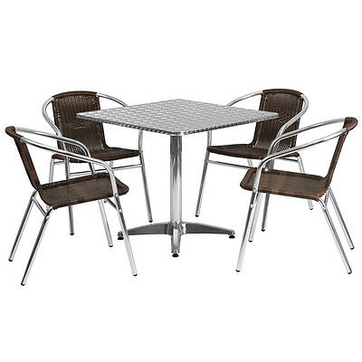 31.5square Aluminum Indoor-outdoor Restaurant Table With 4 Brown Rattan Chairs