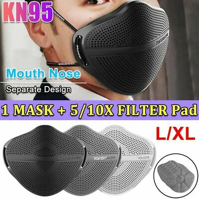 Face Mask With Carbon Filter Mouth Nose Separate Anti Haze Fog Reusable Washable