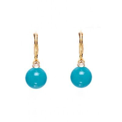 14K Solid Yellow Gold Turquoise Dangle Ball Earrings ER-L114