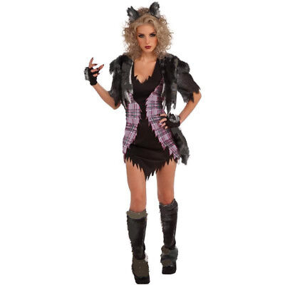 Womens Sexy Werewolf Fancy Dress Costume Twilight Movie She Wolf Horror Costume (Horror Movie Fancy Dress Kostüme)