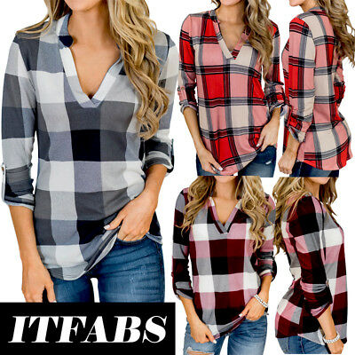 - US Women Vintage V-neck Loose Tops Long Sleeve Sexy T-Shirt Plaid Casual Blouse