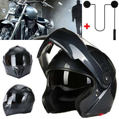 DOT Motorcycle Dual Visor Flip up Modular Full Face Helmet +Bluetooth Headset