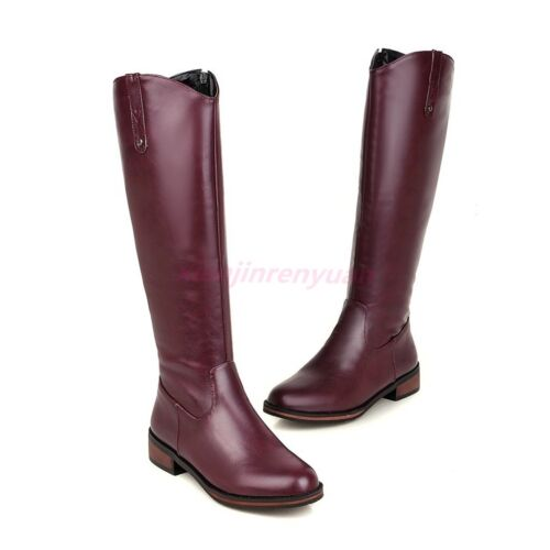 US4.5-13 Womens Riding Boots Block Heels Knee High Equestrian Casual Shoes New
