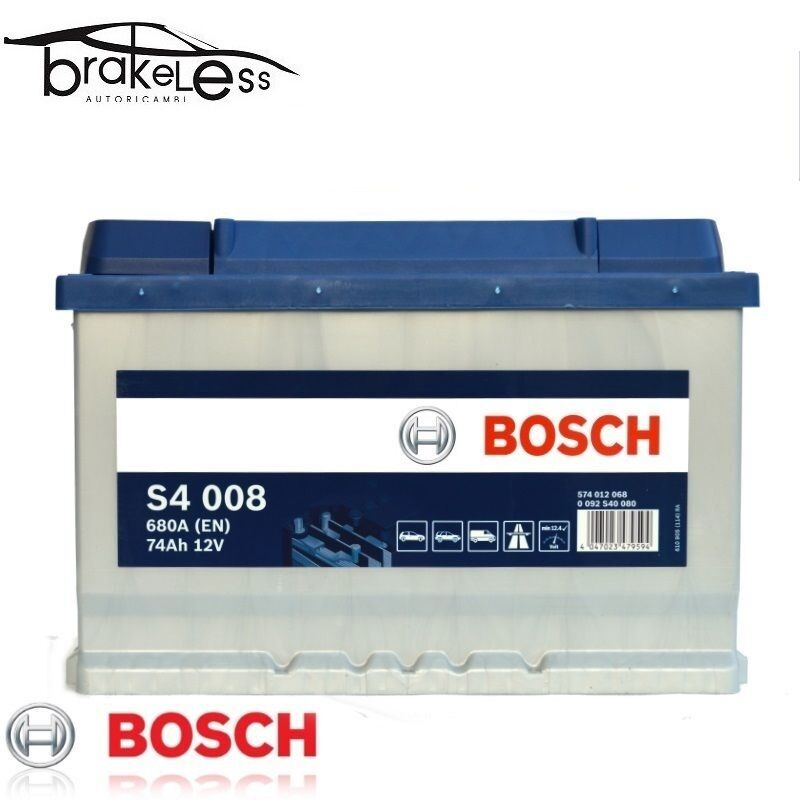 BATTERIA AUTO BOSCH S4 008 74Ah = 80Ah SPUNTO 680A 12v DX ETICHETTA NUOVA