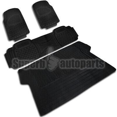 2 Front+1 Rear+1 Cargo All Weather Custom Heavy Duty Rubber Floor Mats 4pc Black ()
