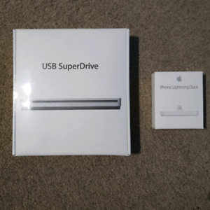 Apple USB SuperDrive and iPhone Lightning Dock