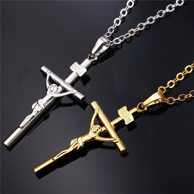 Crucifix Pendant Necklace w/Chain Jesus Cross for Man Woman Vintage Gold/Silver