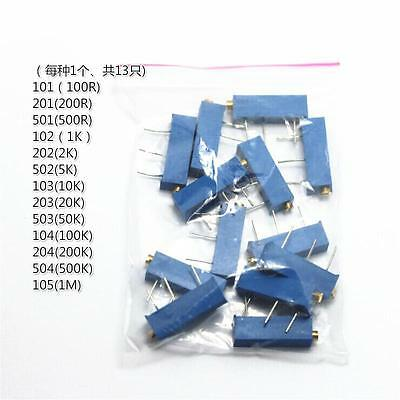 13pcs 13values 3006p Variable Resistor Trimmer Potentiometer Assortment Kit