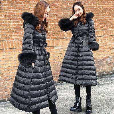 Winter Women A-line Slim Down Coat Jacket Long Hooded Parkas Fur Collar Warm New