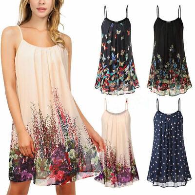 Damen Urlaub Sommerkleid Strand Mini kleider Swingkleid Trägerkleid Shirtkleid ()