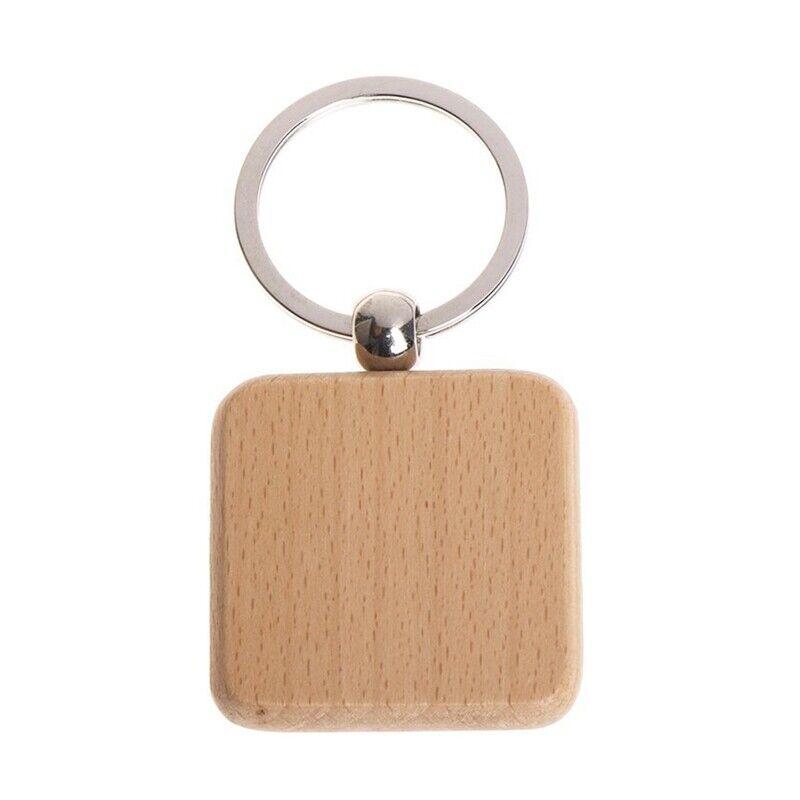 60Pcs Blank Square Wooden Keychain DIY Key Tag Gift G2K1
