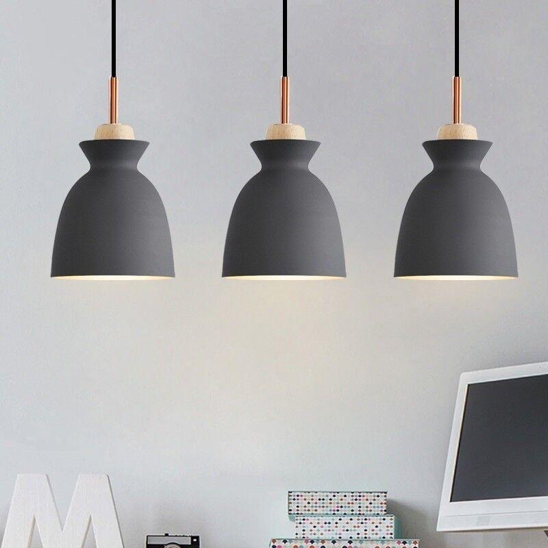 Details About Kitchen Pendant Lighting Modern Ceiling Lights Bar Grey Lamp Wood Light