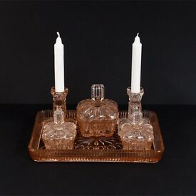Rose / Pink Depression Era Glass Vanity set with Candlesticks at kode-store