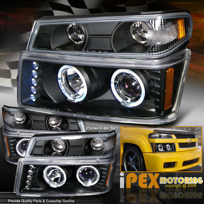 (04-12 GMC Canyon/Chevy Colorado Halo+LED Projector Black Head Light+Signal Lamp)