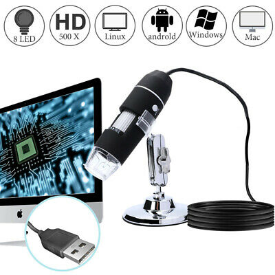 500x Hd 8 Led Digital Microscope Usb For Mobile Phone Computer Tablet Pc