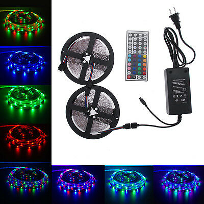10M 3528 RGB 600leds SMD LED Light Strip Kit+44 key IR+12V 5A Power Supply - Cheap String Lights